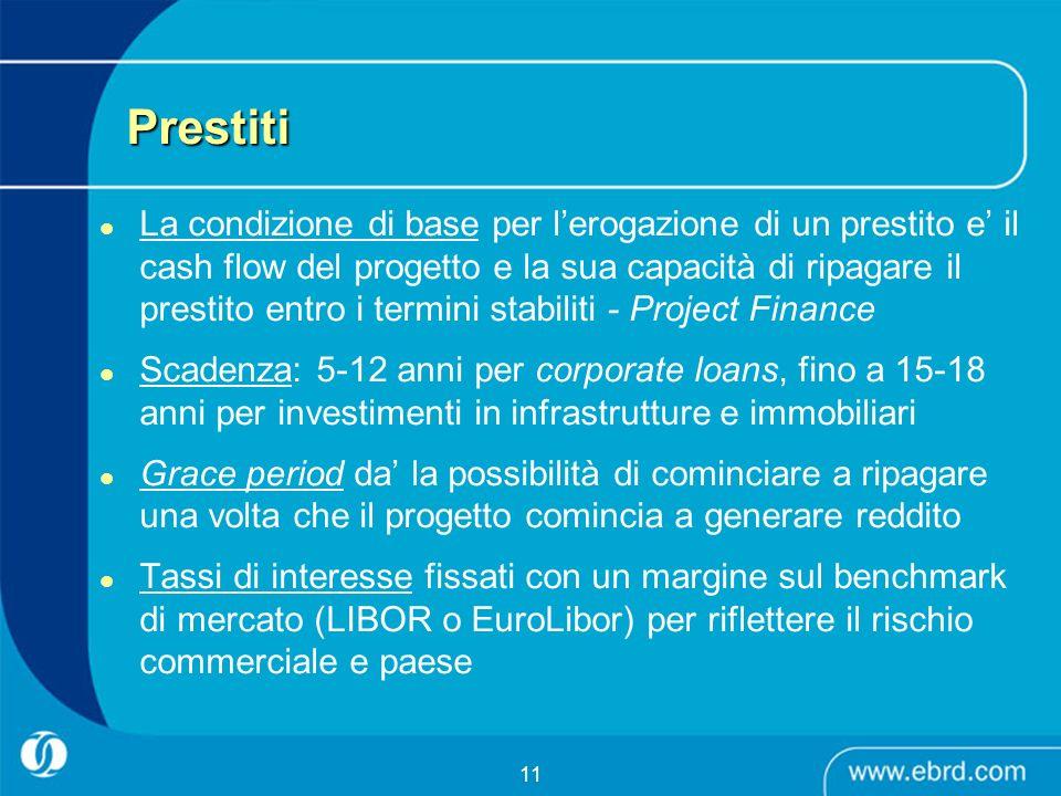 11 Prestiti La condizione di base per lerogazione di un prestito e il cash flow del progetto e la sua capacità di ripagare il prestito entro i termini