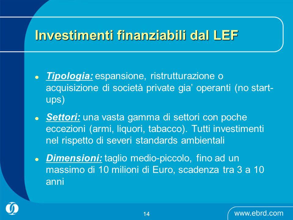 14 Investimenti finanziabili dal LEF Tipologia: espansione, ristrutturazione o acquisizione di società private gia operanti (no start- ups) Settori: u