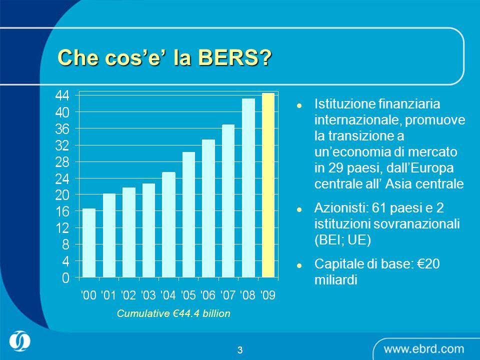 3 Che cose la BERS? Istituzione finanziaria internazionale, promuove la transizione a uneconomia di mercato in 29 paesi, dallEuropa centrale all Asia