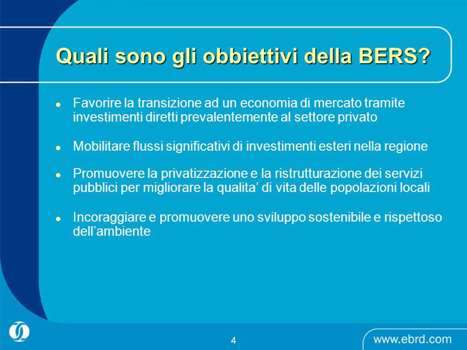 4 Quali sono gli obbiettivi della BERS? Favorire la transizione ad un economia di mercato tramite investimenti diretti prevalentemente al settore priv