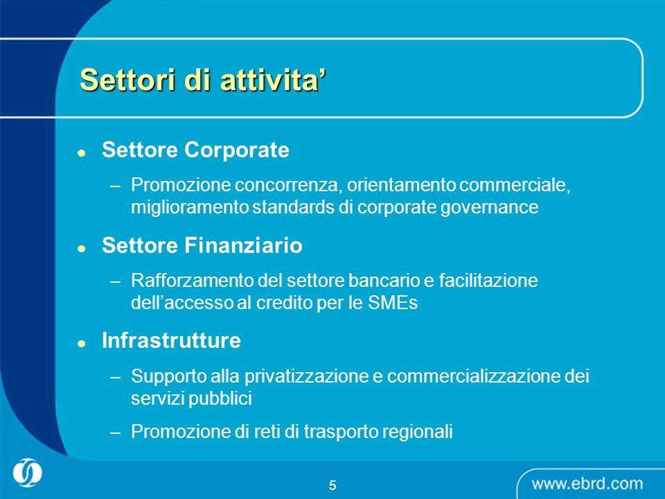 6 Volumi di attivita per settore Financial Institutions 32% General Industry 12% Agribusiness 9% Natural Resources 7% Property & Tourism 4% Telecoms 6% MEI 7% Power & Energy 9% Transport 14%
