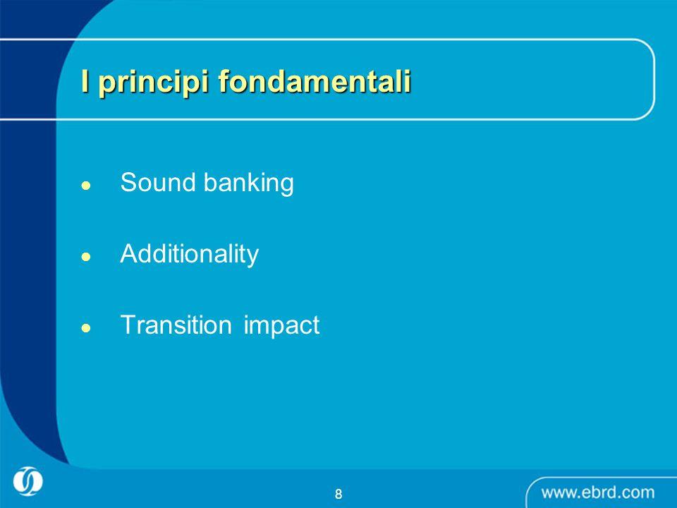 8 I principi fondamentali Sound banking Additionality Transition impact
