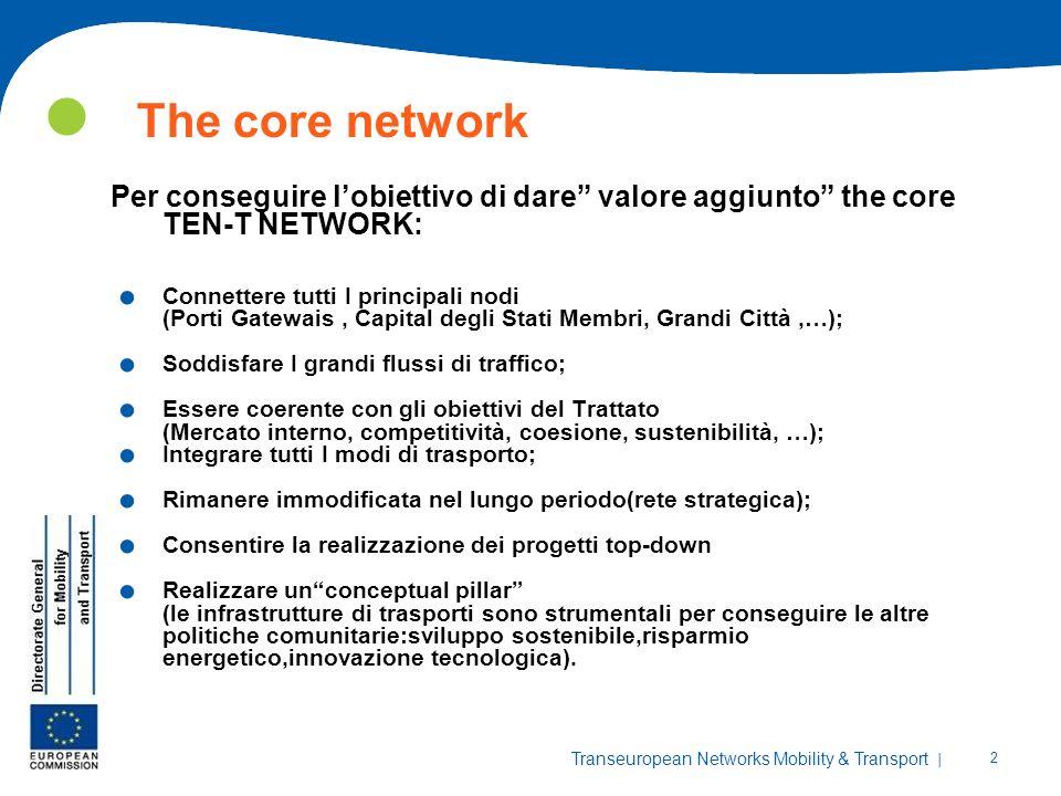 | 2 Transeuropean Networks Mobility & Transport The core network Per conseguire lobiettivo di dare valore aggiunto the core TEN-T NETWORK:. Connettere