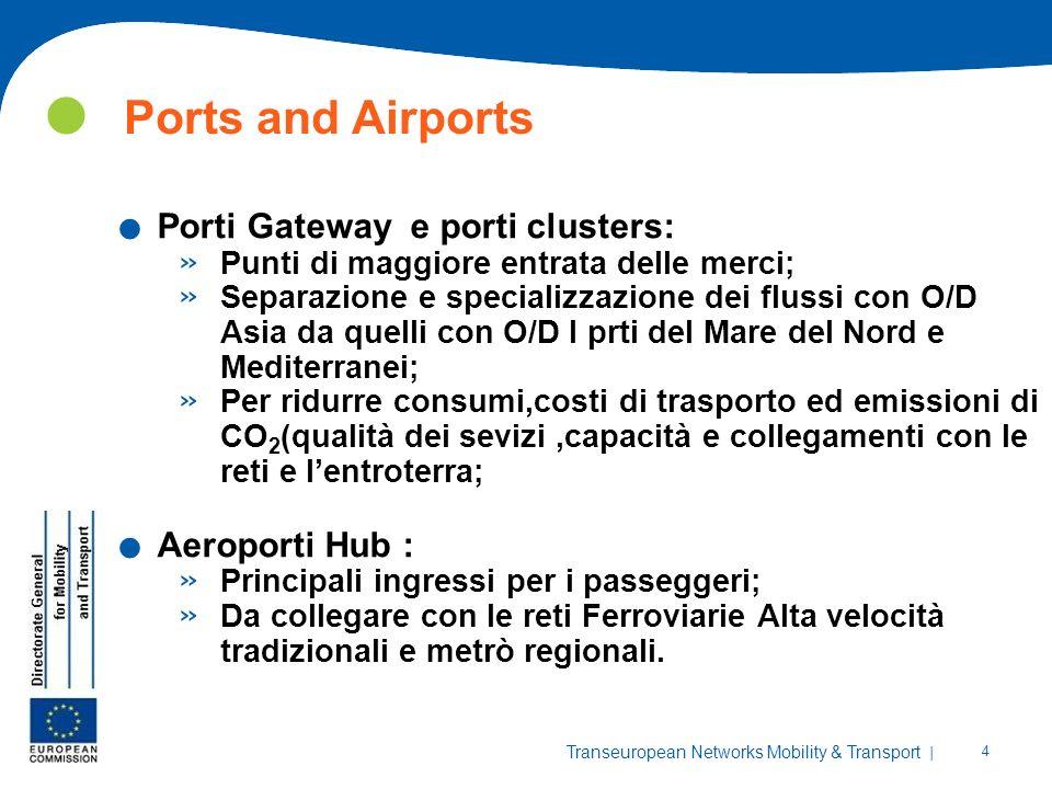 | 4 Transeuropean Networks Mobility & Transport Ports and Airports. Porti Gateway e porti clusters: » Punti di maggiore entrata delle merci; » Separaz