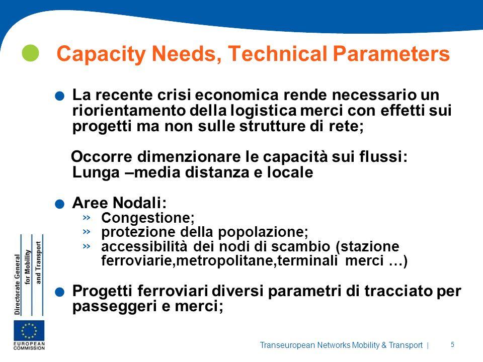 | 5 Transeuropean Networks Mobility & Transport Capacity Needs, Technical Parameters. La recente crisi economica rende necessario un riorientamento de