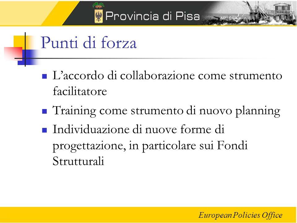 European Policies Office Punti di forza Laccordo di collaborazione come strumento facilitatore Training come strumento di nuovo planning Individuazione di nuove forme di progettazione, in particolare sui Fondi Strutturali