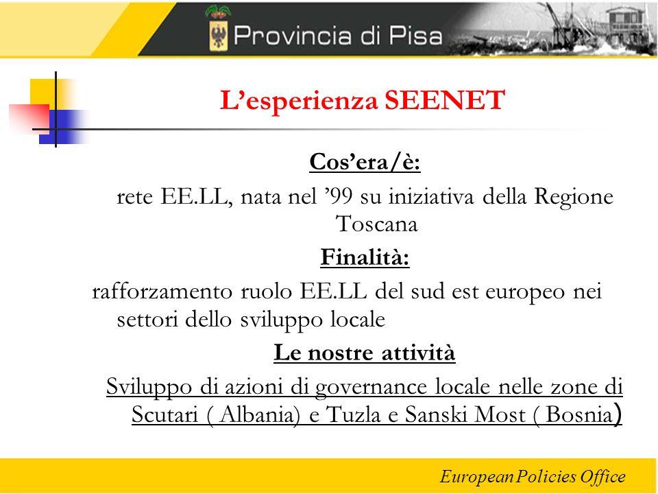 European Policies Office Lesperienza SEENET Cosera/è: rete EE.LL, nata nel 99 su iniziativa della Regione Toscana Finalità: rafforzamento ruolo EE.LL