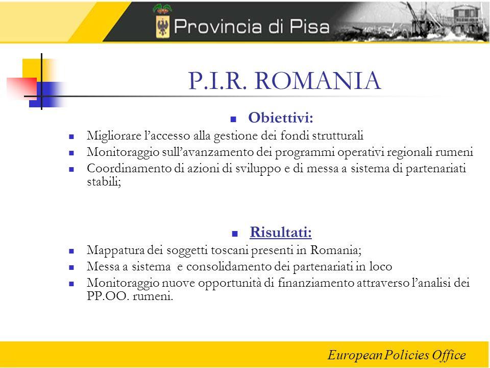 European Policies Office P.I.R. ROMANIA Obiettivi: Migliorare laccesso alla gestione dei fondi strutturali Monitoraggio sullavanzamento dei programmi