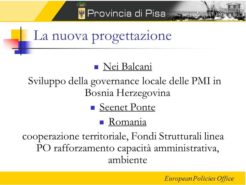 European Policies Office La nuova progettazione Nei Balcani Sviluppo della governance locale delle PMI in Bosnia Herzegovina Seenet Ponte Romania coop