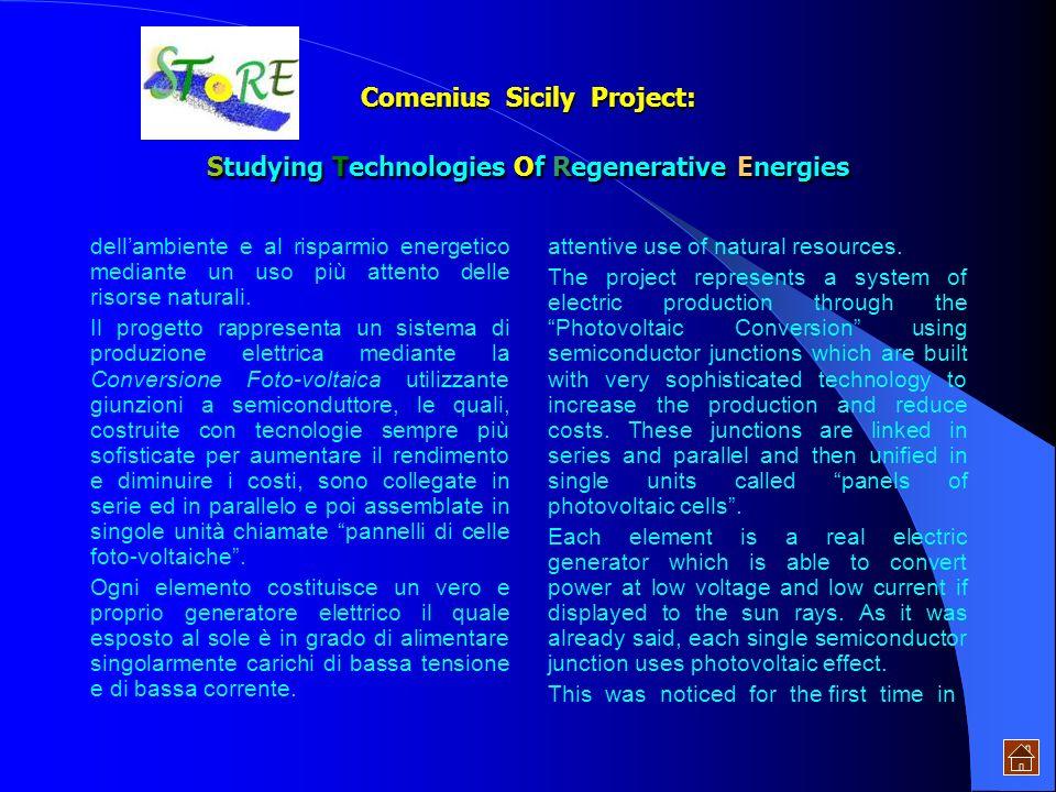 Comenius Sicily Project: Studying Technologies Of Regenerative Energies Lenergia solare può, infatti, essere impiegata per: La conversione elettrica L
