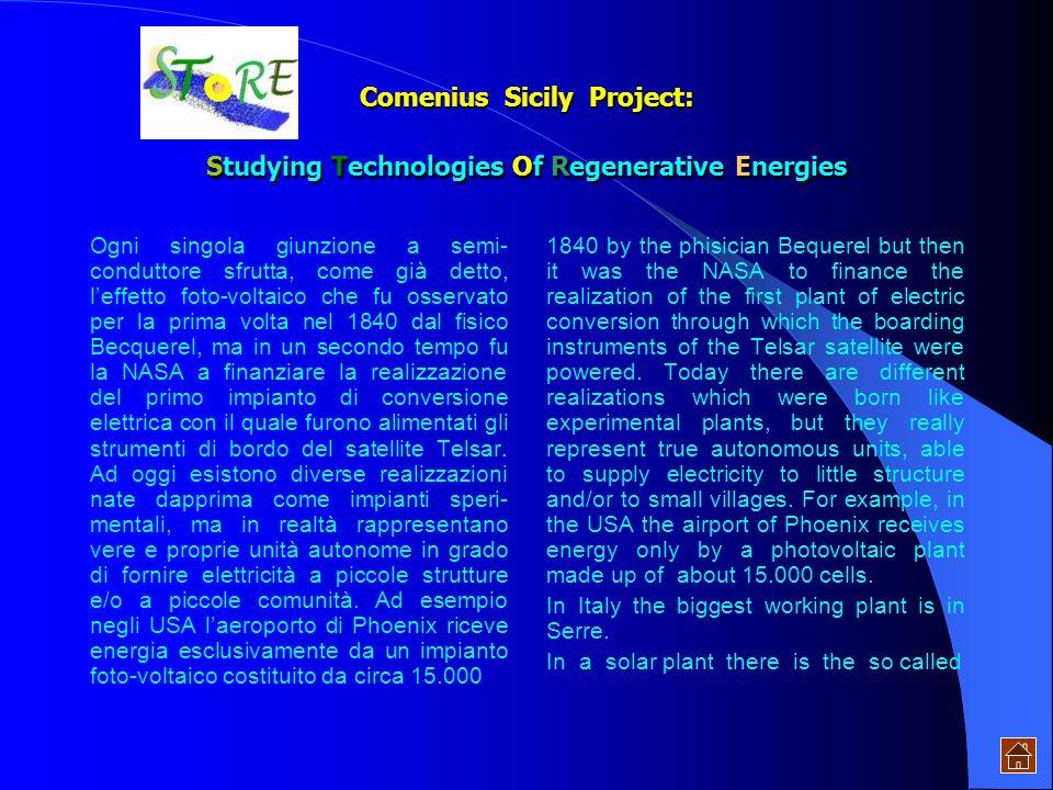 Comenius Sicily Project: Studying Technologies Of Regenerative Energies dellambiente e al risparmio energetico mediante un uso più attento delle risor