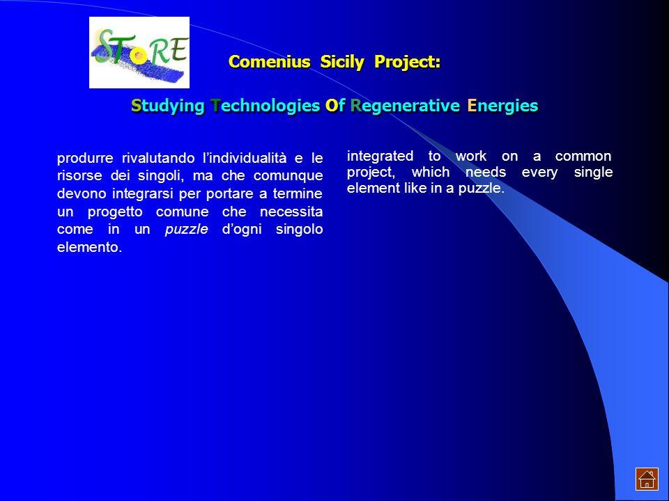 Comenius Sicily Project: Studying Technologies Of Regenerative Energies lenergia prodotta solare facilmente con- vertibile, immagazzinabile e disponib