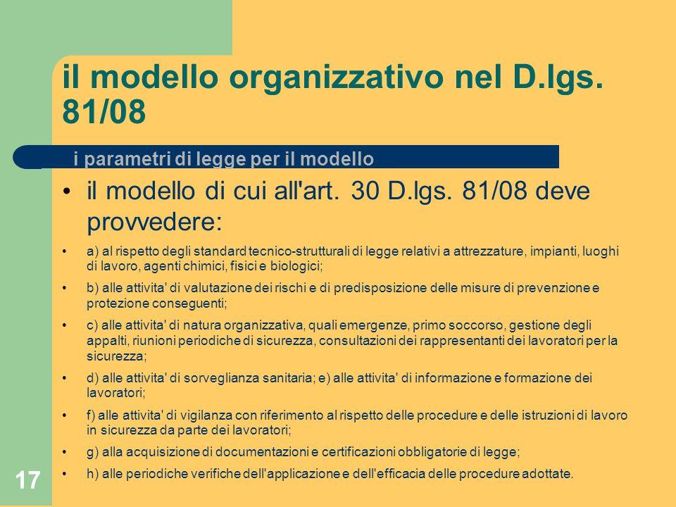 17 il modello organizzativo nel D.lgs. 81/08 il modello di cui all art.