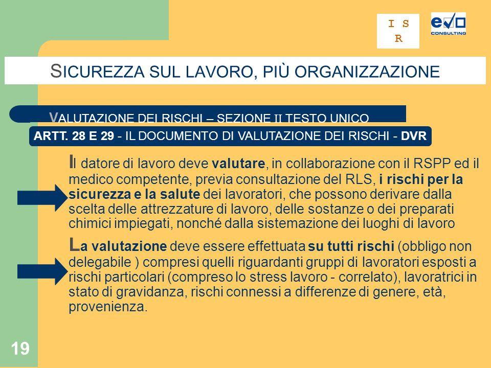19 S ICUREZZA SUL LAVORO, PIÙ ORGANIZZAZIONE V ALUTAZIONE DEI RISCHI – SEZIONE II TESTO UNICO ARTT.