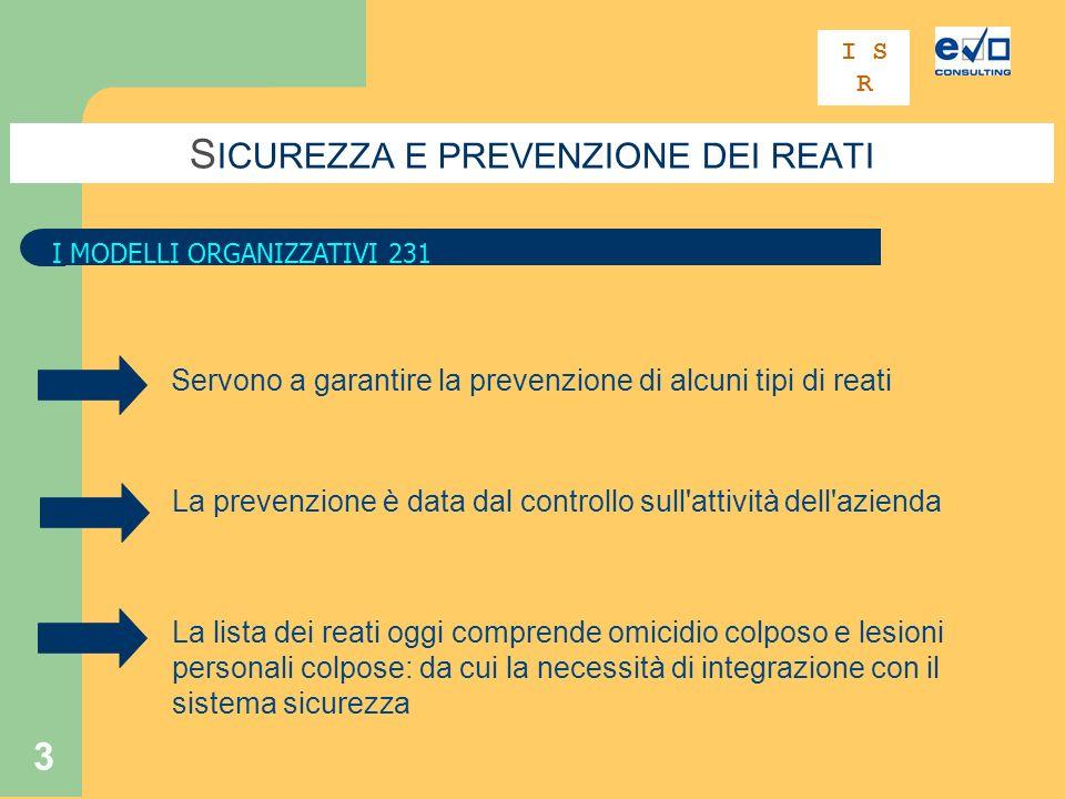 3 S ICUREZZA E PREVENZIONE DEI REATI I MODELLI ORGANIZZATIVI 231 I S R Servono a garantire la prevenzione di alcuni tipi di reati La prevenzione è dat