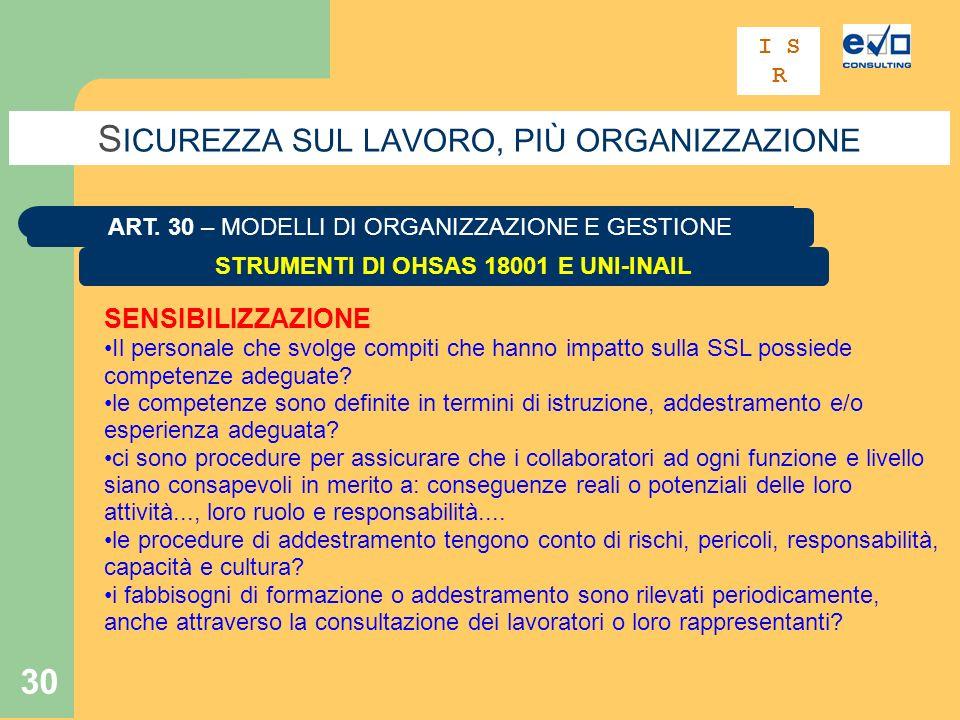30 S ICUREZZA SUL LAVORO, PIÙ ORGANIZZAZIONE STRUMENTI DI OHSAS 18001 E UNI-INAIL ART.