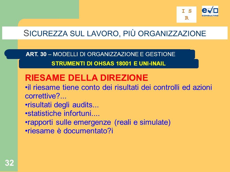 32 S ICUREZZA SUL LAVORO, PIÙ ORGANIZZAZIONE STRUMENTI DI OHSAS 18001 E UNI-INAIL ART.