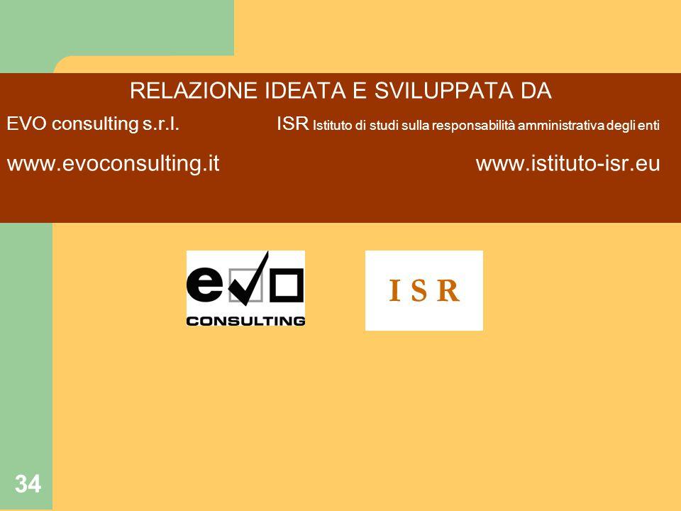 34 RELAZIONE IDEATA E SVILUPPATA DA EVO consulting s.r.l. ISR Istituto di studi sulla responsabilità amministrativa degli enti www.evoconsulting.it ww