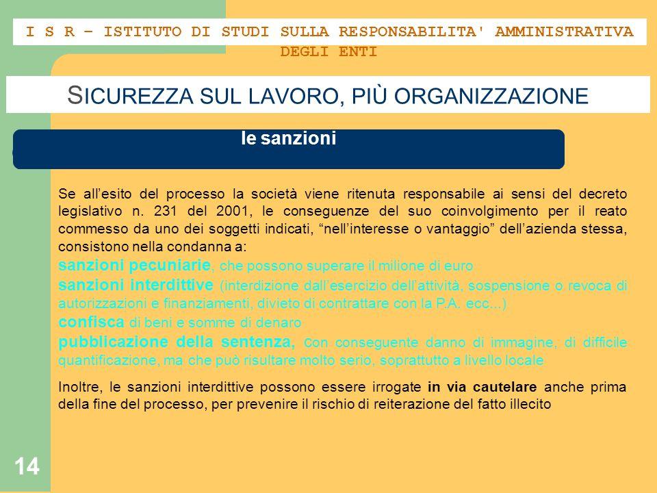 14 S ICUREZZA SUL LAVORO, PIÙ ORGANIZZAZIONE M ODELLO ORGANIZZATIVO – IL DECRETO 231 - 01 le sanzioni I S R – ISTITUTO DI STUDI SULLA RESPONSABILITA'