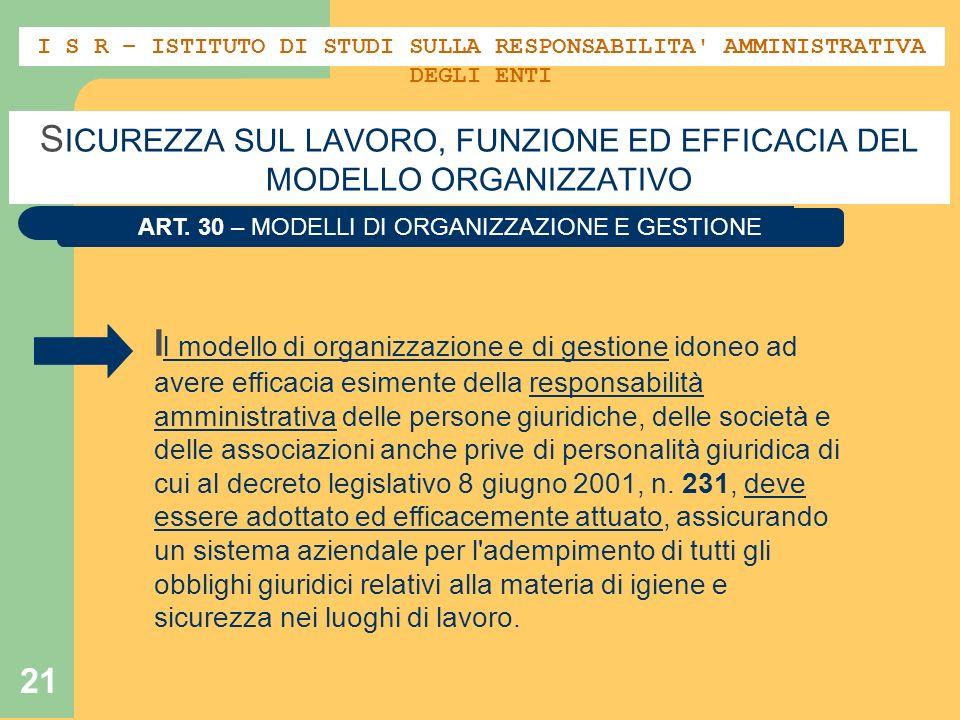 21 S ICUREZZA SUL LAVORO, FUNZIONE ED EFFICACIA DEL MODELLO ORGANIZZATIVO ART. 30 – MODELLI DI ORGANIZZAZIONE E GESTIONE I l modello di organizzazione