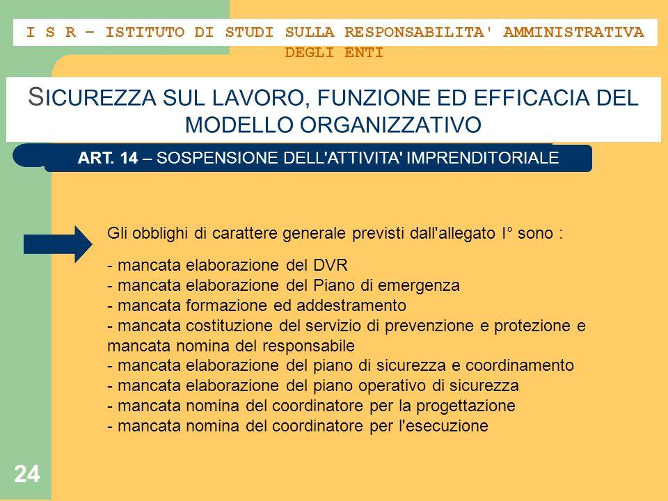 24 S ICUREZZA SUL LAVORO, FUNZIONE ED EFFICACIA DEL MODELLO ORGANIZZATIVO ART. 14 – SOSPENSIONE DELL'ATTIVITA' IMPRENDITORIALE Gli obblighi di caratte