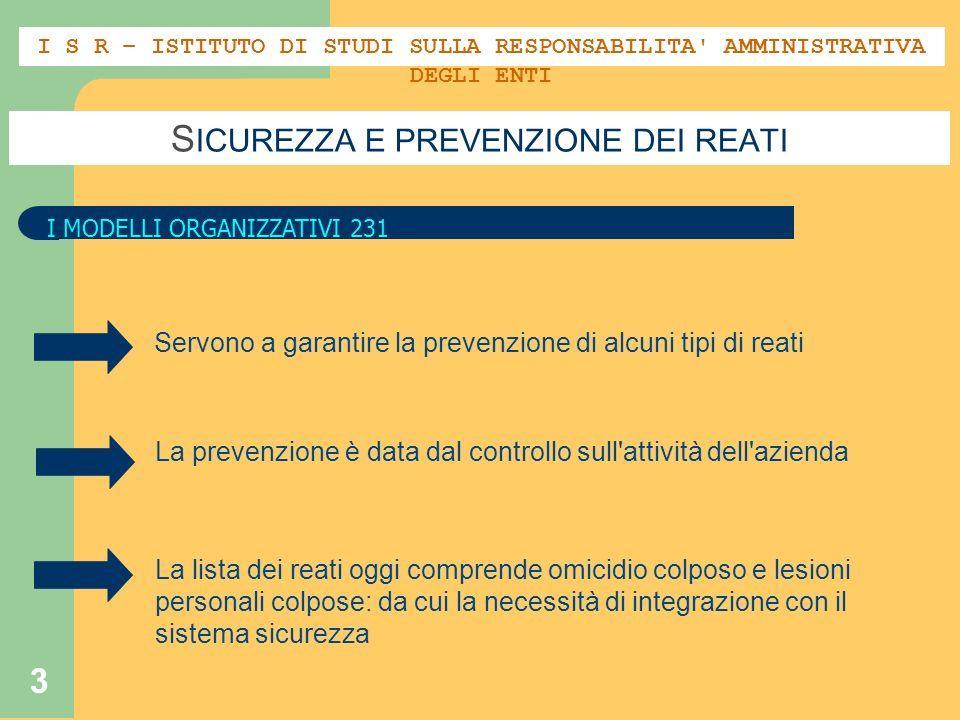 3 S ICUREZZA E PREVENZIONE DEI REATI I MODELLI ORGANIZZATIVI 231 Servono a garantire la prevenzione di alcuni tipi di reati La prevenzione è data dal