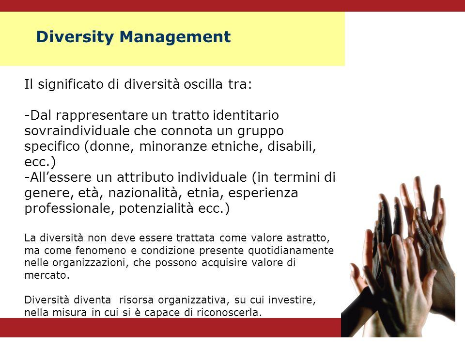 Il significato di diversità oscilla tra: -Dal rappresentare un tratto identitario sovraindividuale che connota un gruppo specifico (donne, minoranze e