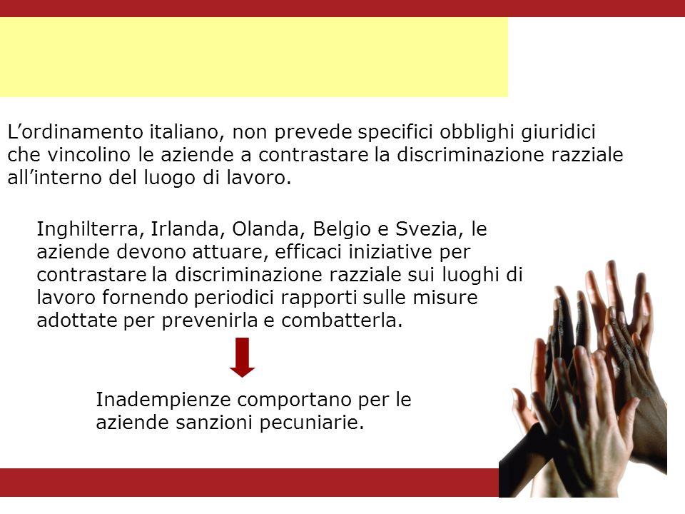Lordinamento italiano, non prevede specifici obblighi giuridici che vincolino le aziende a contrastare la discriminazione razziale allinterno del luog