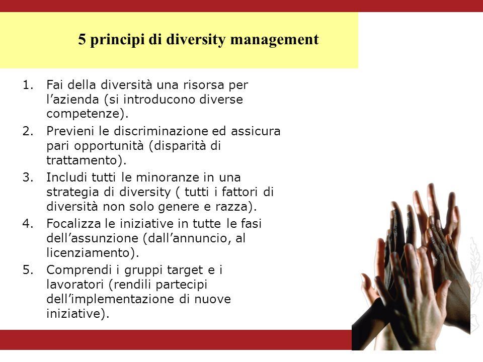 1.Fai della diversità una risorsa per lazienda (si introducono diverse competenze). 2.Previeni le discriminazione ed assicura pari opportunità (dispar