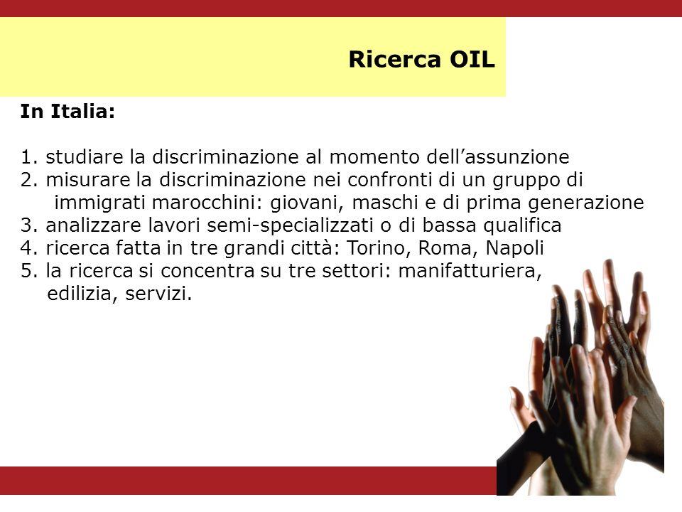In Italia: 1. studiare la discriminazione al momento dellassunzione 2. misurare la discriminazione nei confronti di un gruppo di immigrati marocchini: