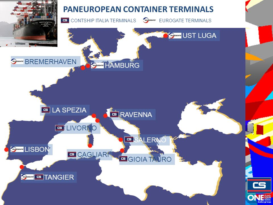 EUROGATE TERMINALS CONTSHIP ITALIA TERMINALS LISBON TANGIER HAMBURG BREMERHAVEN LA SPEZIA RAVENNA CAGLIARI GIOIA TAURO SALERNO LIVORNO UST LUGA PANEUROPEAN CONTAINER TERMINALS
