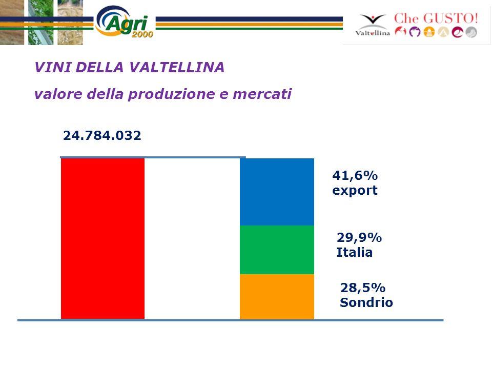 VINI DELLA VALTELLINA valore della produzione e mercati 29,9% Italia 41,6% export 28,5% Sondrio