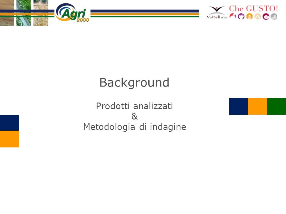 Prodotti analizzati Bresaola Mele Formaggi Vini Pizzoccheri Miele Metodologia di indagine 56 interviste face to face ai responsabili di altrettante imprese agroalimentari valtellinesi (12 e il 16 luglio 2010).