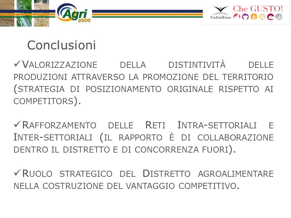 Conclusioni V ALORIZZAZIONE DELLA DISTINTIVITÀ DELLE PRODUZIONI ATTRAVERSO LA PROMOZIONE DEL TERRITORIO ( STRATEGIA DI POSIZIONAMENTO ORIGINALE RISPET