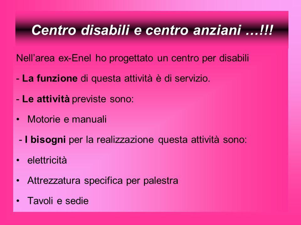 Centro disabili e centro anziani …!!! Nellarea ex-Enel ho progettato un centro per disabili - La funzione di questa attività è di servizio. - Le attiv