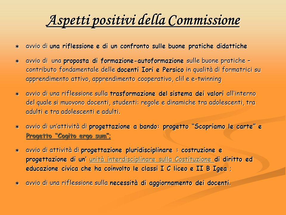 Aspetti positivi della Commissione avvio di una riflessione e di un confronto sulle buone pratiche didattiche avvio di una riflessione e di un confron