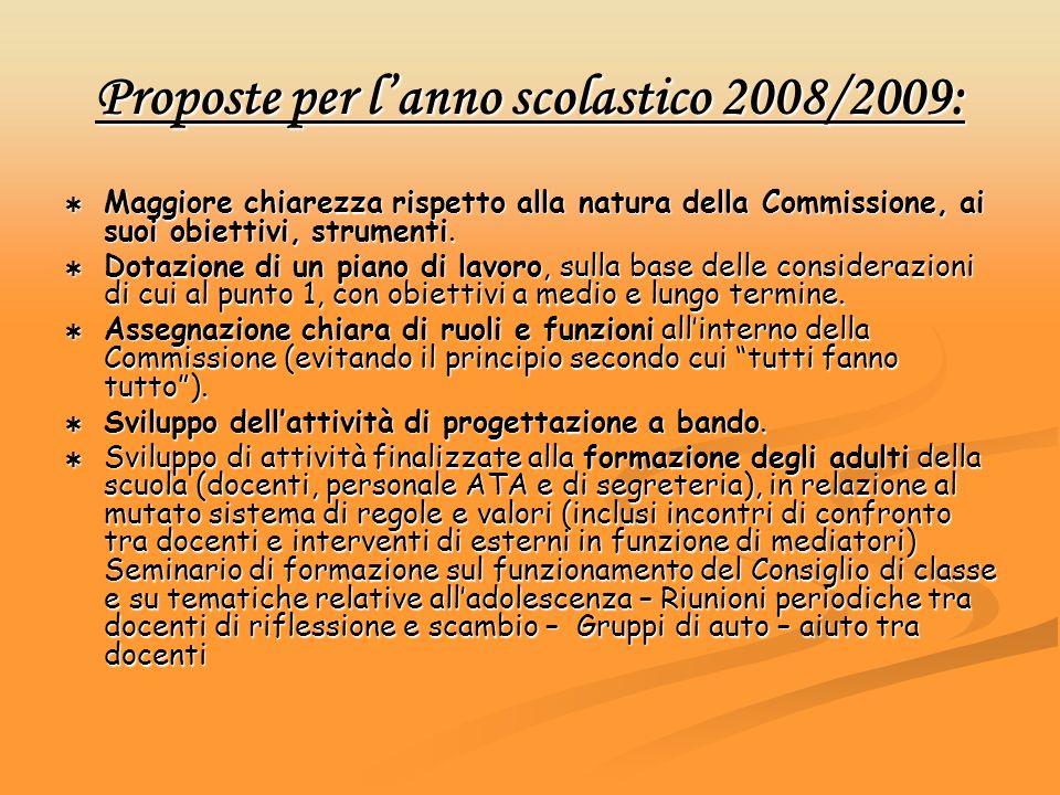 Proposte per lanno scolastico 2008/2009: Maggiore chiarezza rispetto alla natura della Commissione, ai suoi obiettivi, strumenti. Maggiore chiarezza r
