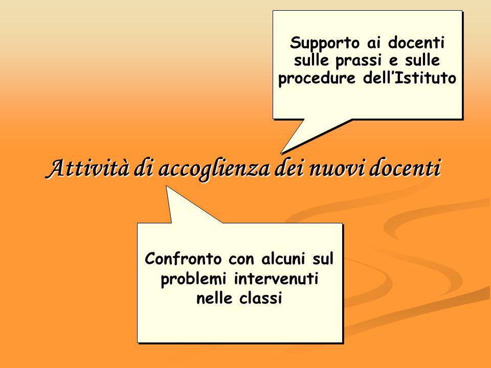 Attività di accoglienza dei nuovi docenti Supporto ai docenti sulle prassi e sulle procedure dellIstituto Confronto con alcuni sul problemi intervenut