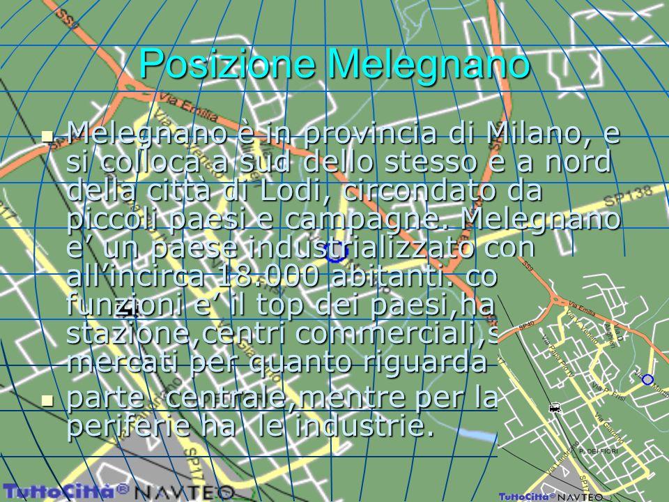 Posizione Melegnano Melegnano è in provincia di Milano, e si colloca a sud dello stesso e a nord della città di Lodi, circondato da piccoli paesi e ca