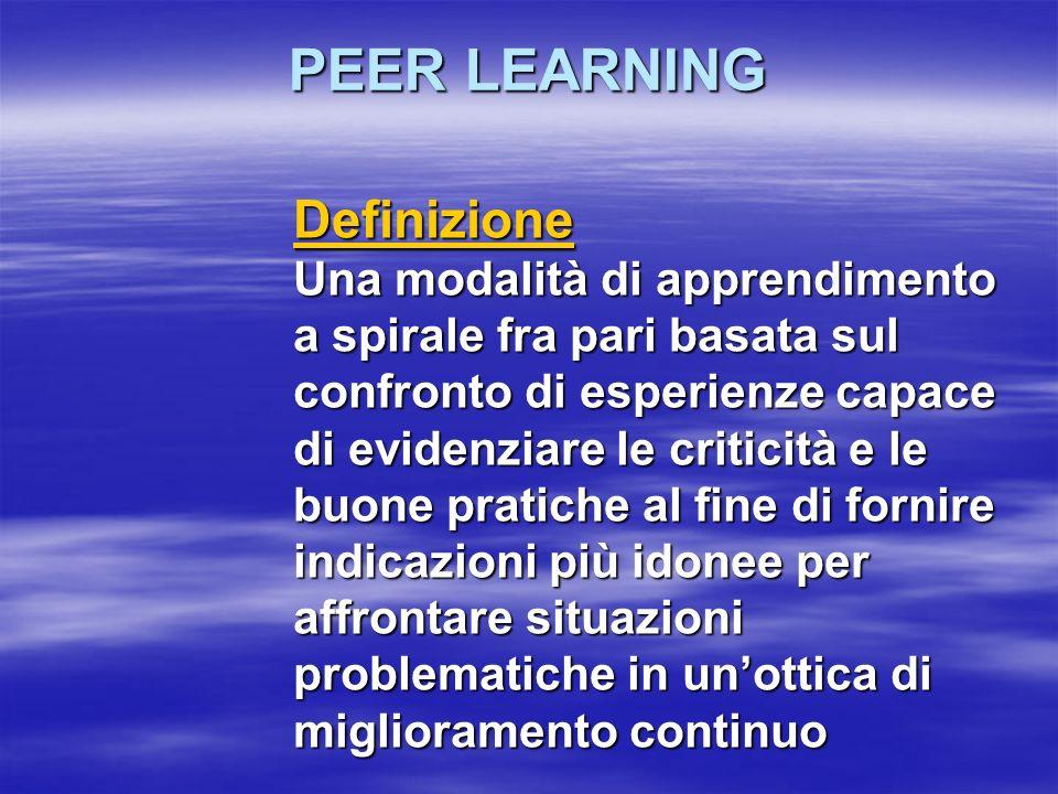PEER LEARNING Definizione Una modalità di apprendimento a spirale fra pari basata sul confronto di esperienze capace di evidenziare le criticità e le