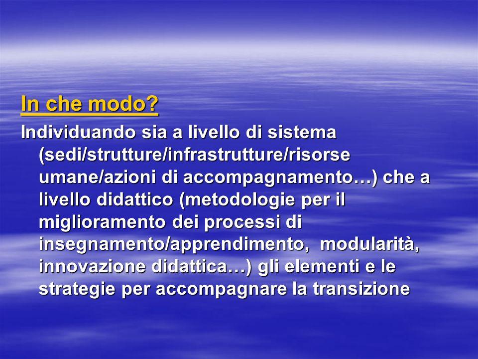 In che modo? Individuando sia a livello di sistema (sedi/strutture/infrastrutture/risorse umane/azioni di accompagnamento…) che a livello didattico (m