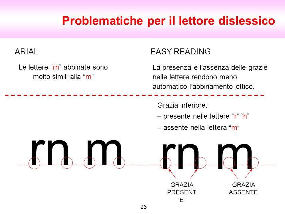 Problematiche per il lettore dislessico 23 rn m GRAZIA PRESENT E GRAZIA ASSENTE ARIAL Le lettere rn abbinate sono molto simili alla m EASY READING Gra