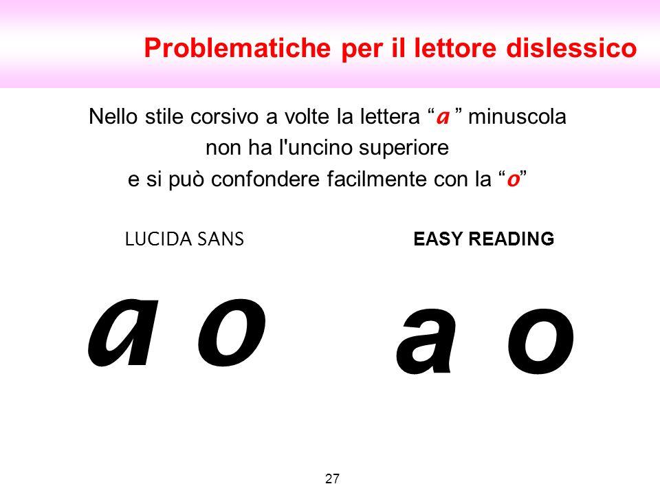 o Problematiche per il lettore dislessico 27 LUCIDA SANS EASY READING Nello stile corsivo a volte la lettera a minuscola non ha l'uncino superiore e s