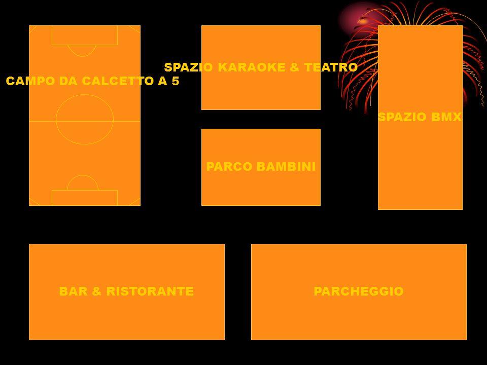 CAMPO DA CALCETTO A 5 BAR & RISTORANTEPARCHEGGIO SPAZIO KARAOKE & TEATRO PARCO BAMBINI SPAZIO BMX
