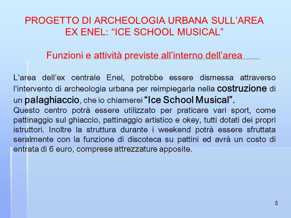 5 PROGETTO DI ARCHEOLOGIA URBANA SULLAREA EX ENEL: ICE SCHOOL MUSICAL Funzioni e attività previste allinterno dellarea Larea dellex centrale Enel, pot