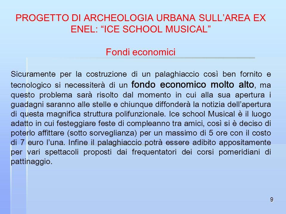 9 PROGETTO DI ARCHEOLOGIA URBANA SULLAREA EX ENEL: ICE SCHOOL MUSICAL Fondi economici Sicuramente per la costruzione di un palaghiaccio così ben forni