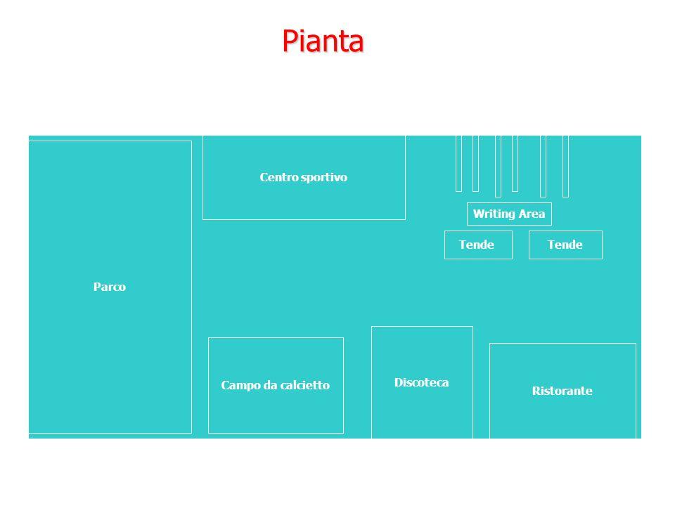 Pianta Parco Campo da calcietto Discoteca Ristorante Centro sportivo Tende Writing Area