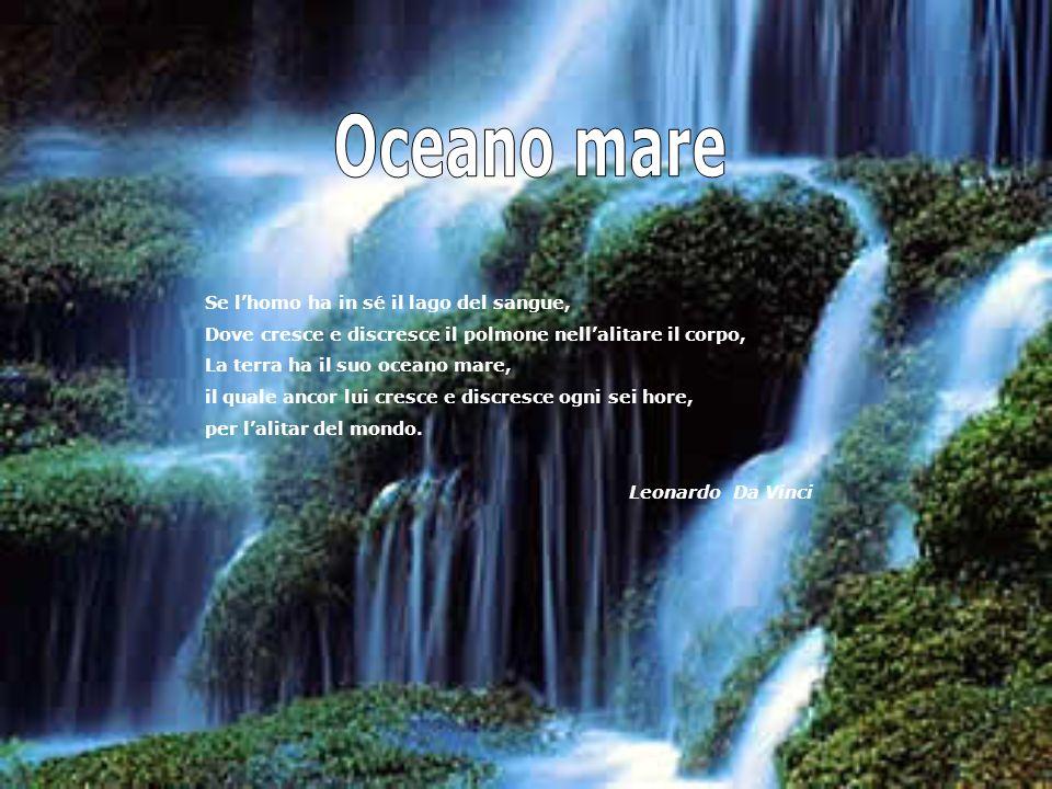 Se lhomo ha in sé il lago del sangue, Dove cresce e discresce il polmone nellalitare il corpo, La terra ha il suo oceano mare, il quale ancor lui cresce e discresce ogni sei hore, per lalitar del mondo.