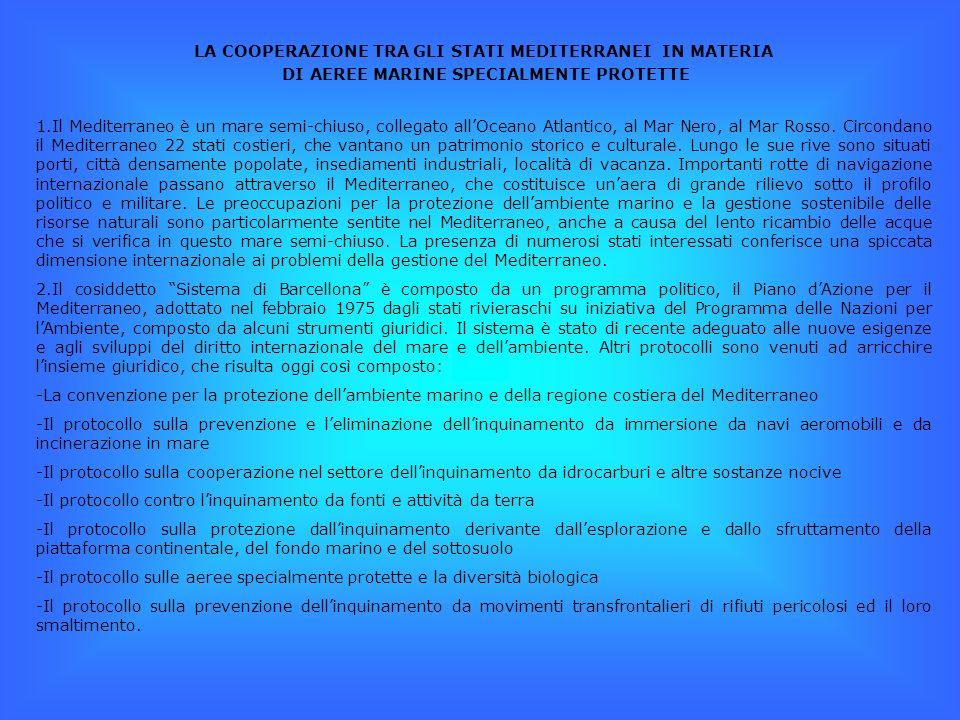 LA COOPERAZIONE TRA GLI STATI MEDITERRANEI IN MATERIA DI AEREE MARINE SPECIALMENTE PROTETTE 1.Il Mediterraneo è un mare semi-chiuso, collegato allOceano Atlantico, al Mar Nero, al Mar Rosso.
