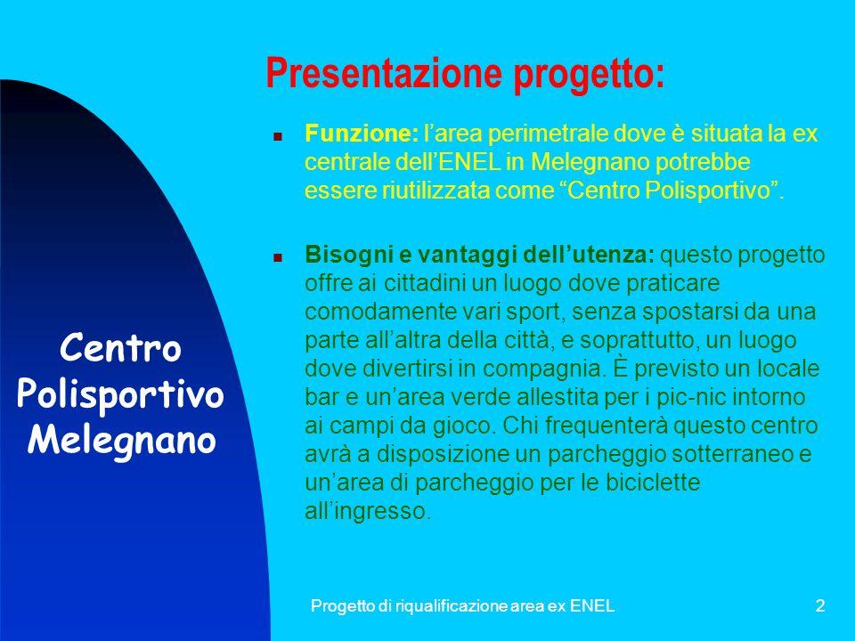 Progetto di riqualificazione area ex ENEL2 Presentazione progetto: Bisogni e vantaggi dellutenza: questo progetto offre ai cittadini un luogo dove pra